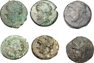 obverse: Greek Italy.. Multiple lot of six (6) unclassified AE coins, including Arpi and Neapolis