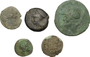 obverse: Greek Italy and Sicily.. Multiple lot of five (5) unclassified coins, including: Kroton, Syracuse, Petelia and The Brettii