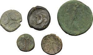 reverse: Greek Italy and Sicily.. Multiple lot of five (5) unclassified coins, including: Kroton, Syracuse, Petelia and The Brettii
