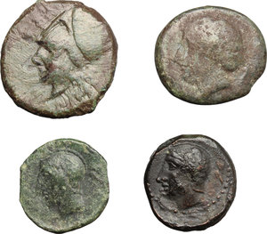 obverse: Greek Sicily.. Multiple lot of four (4) unclassified coins, including: Kamarina and Syracuse