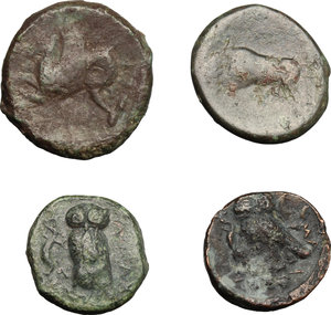 reverse: Greek Sicily.. Multiple lot of four (4) unclassified coins, including: Kamarina and Syracuse