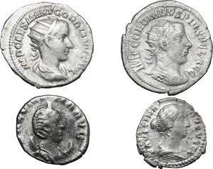 obverse: Roman Empire.. Multiple lot of four (4) unclassified AR coins, including: Faustina II, Gordian III and Salonina