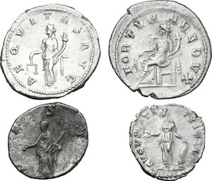 reverse: Roman Empire.. Multiple lot of four (4) unclassified AR coins, including: Faustina II, Gordian III and Salonina