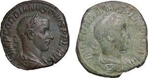 obverse: Roman Empire. Gordian III (238-244).. Multiple lot oftwo (2) unclassified AE Sestertii, c. 241-244