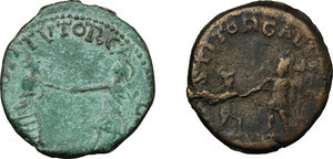 reverse: Roman Empire. Postumus (259-268).. Multiple lot of two (2) unclassified AE coins