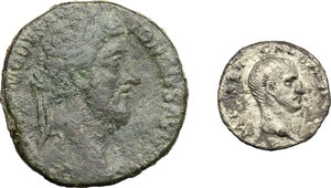 obverse: Roman Empire.. Multiple lot of two (2) unclassified coins: AR Denarius of Galba and AE Sestertius of Commodus