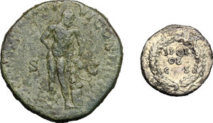 reverse: Roman Empire.. Multiple lot of two (2) unclassified coins: AR Denarius of Galba and AE Sestertius of Commodus