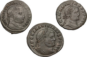 obverse: Roman Empire.. Multiple lot of three (3) unclassified AE Folles of Maximian and Galerius