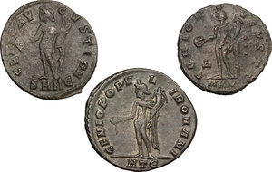 reverse: Roman Empire.. Multiple lot of three (3) unclassified AE Folles of Maximian and Galerius