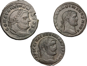 obverse: Roman Empire.. Multiple lot of three (3) unclassified AE Folles of Constantine I, Maximianus II Daia and Galerius