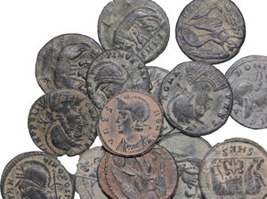 obverse: Roman Empire.. Multiple lot of fourteen (14) unclassified AE coins, including the type Constantinopolis/Victory and Urbs Roma/She wolf, 4th century