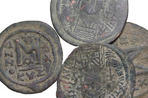 obverse: Byzantine Empire. Justinian I (527-565).. Multiple lot of four (4) unclassified AE Folles