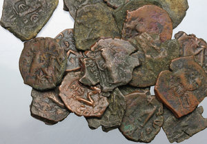 obverse: Byzantine Empire. Multiple lot of twenty (20) AE Folles, 5th-7th century