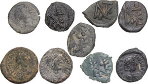 obverse: Byzantine Empire. Multiple lot (9) unclassified AE coins, 6th-8th century