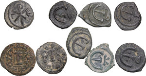 reverse: Byzantine Empire. Multiple lot (9) unclassified AE coins, 6th-8th century
