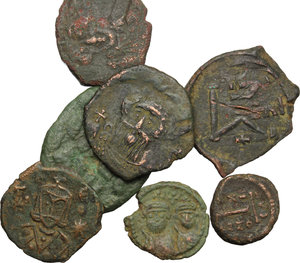obverse: Byzantine Empire. Multiple lot seven (7) unclassified AE Folles and Fractions, c. 7th-12th century