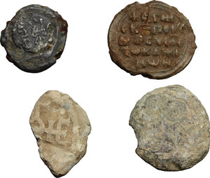 reverse: Byzantine Empire. Multiple lot of four (4) unclassified PB Seals, 10-12th century