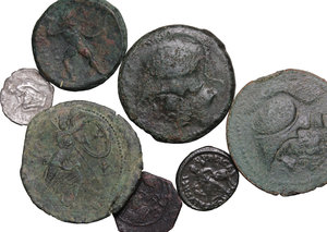 obverse: Miscellaneous. Multiple lot of seven (7)  Ar and AE coins, including  Bruttium, Theodosius I, Roger II