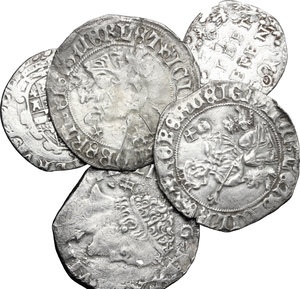 obverse: Italy. Kingdom of Naples.. Multiple lot of five (5) unclassified AR coins of Naples, including: Robert of Anjou (1309-1343) Gigliato, Philip II (1554-1598) Carlino and Tarì