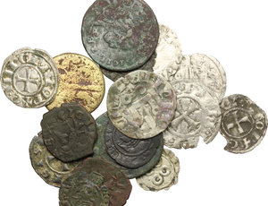 obverse: Miscellaneous. Multiple lot of eighteen (18) unclassified coins, including: 5 AR Denar, Crusaders, Athens, 4 AR Denar, Federico II, Messina, 2 small AE coins of Kingdom of Sicily 14th-15th century, BI Denar, Messina, 1242, BI Denar, Messina or Brindisi 1243, BI Denar, Brindisi 13th century, AE Tornese, Ferdinand IV, 1790, BI Grano, Johanna as regent for Charles V, 1516-1519, Naples