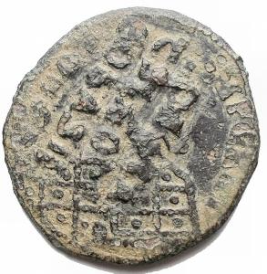 obverse: Varie - Bizantini. Follis in Ae ribattuto da catalogare. g 5,1. mm 25,7 x 27,3