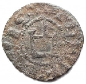 reverse: Varie - Athens. Crusader coins. Guillaume de la Roche (1280-1287). Obol, perhaps minted during the Minority of Gui II. D/ G.DVX.ATENES. Large fleud-de-lis. R/ THEBE CIVIS. Genoese gateway, pellet in center. Malloy 82. Schl. XIII, 32. De Saulcy Tav. XVII, 14. MI. g. 0.48 mm. 14.00 RRR. VF+.