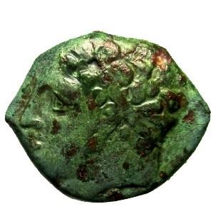 obverse: Mondo Greco. Sicilia. Siracusa. Agatocle. 295-289 a.C. : D/ Testa di Eracle a sinistra. R/ Leone a destra. Sopra clava. Peso 5,6 gr. Diametro 20 mm. BB. Patina.