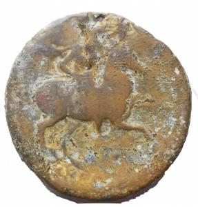 reverse: Mondo Greco -Sicilia.Siracusa.Gerone II (274-216 a.C.).AE 26 x 26,9 mm.D/ Testa diademata di Gerone a sinistra.R/ Cavaliere con lancia su cavallo impennato a destra.g 17,8. MB+