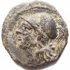 obverse: Mondo Greco. Sicilia Tauromenion. 275-212 a.C.Ae Bronzo. D/ Testa di Atena verso sinistra. R/ Pegaso in volo verso sinistra. Calciati 29. Peso 5,62 gr. Diametro 21,8 mm.BB-SPL.Patina verde oliva.R. §