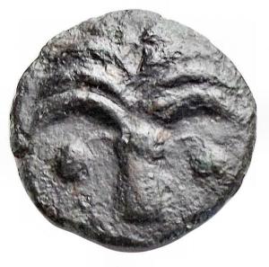 obverse: Mondo Greco - Sicilia Punica. ca 300-264 a.C.AE. D/ Albero di palma. R/ Pegaso a sinistra. Peso 1,82 gr. Diametro 14,2 mm. ConservazioneBB+. R