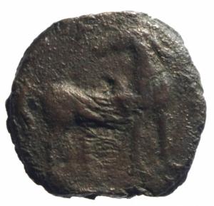 reverse: Mondo Greco. Sardo Punica. 264-261 a.C.Ae.D/ Testa di Kore verso sinistra. R/ Cavallino con testa retrospicente, dietro una palma. Peso 4,76 g. Diametro 20,40 mm.MB.