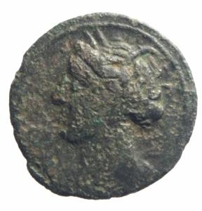 obverse: Mondo Greco. Sardegna Punica. Prima del 227 a.C. AE20. D/ Testa di Tanit verso sinistra. R/ Protome equina. Piras tipo A 1. Peso 4,50 gr. Diametro 20,55 mm.qBB. Patina. R.