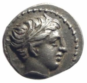 obverse: Mondo Greco. Macedonia. Filippo II. 359-336 a.C. 1/5 di Tetradracma. AG. D/ Testa diademata di Apollo a destra. R/ Giovane cavaliere al passo a destra. Peso 2,60 gr. Diametro 16,00 mm. SPL+.