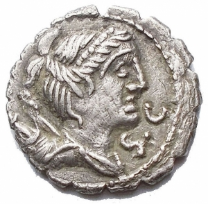 obverse: Repubblica Romana - Gens Claudia.Tiberius Claudius. 79 ac. d/ Diana a ds. davanti SC r/ Vittoria in biga a ds /A. XXXIII / TI CLAVD TI F / AP N. 3.52 g. 18.92 mm. BB-SPL