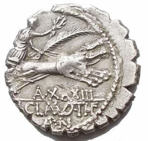 reverse: Repubblica Romana - Gens Claudia.Tiberius Claudius. 79 ac. d/ Diana a ds. davanti SC r/ Vittoria in biga a ds /A. XXXIII / TI CLAVD TI F / AP N. 3.52 g. 18.92 mm. BB-SPL