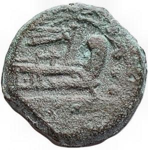 reverse: Repubblica Romana - Quadrante anonimo (serie uccello su timone). 206-195 a.C. g 5,4. mm 17,8. BB+. Patina verde marrone. Rarissimo