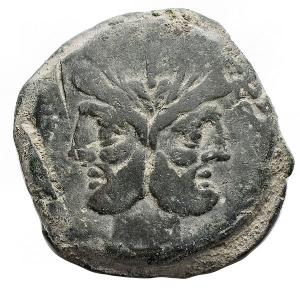 obverse: Repubblica Romana -Gens Scribonia.C. Scribonius. ca 154 d.C.Asse. AE. D/ Testa di Giano laureata, sopra segno di valore I. R/ Prua a destra, sopra C.SCR, davanti segno di valore I. Sotto ROMA. Cr. 201/2. Peso g 37,4. Diametro mm 33,5. BelBB+.Patina verde oliva