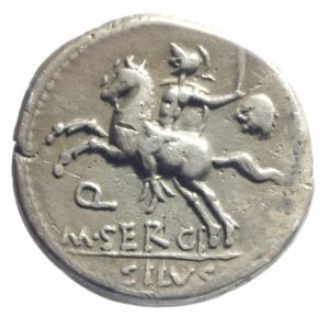 reverse: Repubblica Romana. Gens Sergia. M. Sergius Silus. ca 116-115 a.C. Denario. AG. D/ Testa elmata di Roma a destra; dietro, ROMA * e davanti, EX·S·C. R/ Cavaliere a sinistra; tiene una spada ed una testa decapitata nella sinistra; sotto il cavallo, Q / M·SERGI ed in esergo, SILVS. Cr. 286/1. B. Sergia 1. Syd. 544. Peso gr. 3,95. Diametro mm. 19,00. BB+.