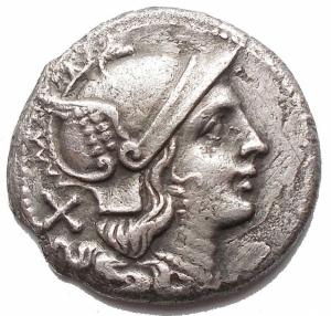 obverse: RepubblicaRomana - Denaro anonimo. 211-209 ac.D/ Testa elmata di Roma a destra.R/ Dioscuri a destra, in esergo ROMA.Gr. 4,02. mm 19,26.AG.Cr 53/2. BB++/BB