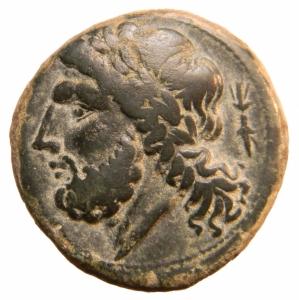 obverse: Mondo Greco. Apulia. Arpi. ca. 325-275 a.C. Ae. D/ Testa laureata di Zeus a sinistra. R/ Cinghiale a destra sopra punta di lancia. Sotto APΠANΩN. HN (Italy) 642. Peso gr. 7,87. Diametro mm.20,00. BB+. Ex Nomisma 47 lotto 7 Aprile 2013 ^^^