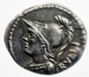 obverse: Repubblica Romana. Gens Servilia. Publius Servilius Rullus. 100 a.C. Denario. Ag. D/ RVLLI Busto di Pallade verso sinistra. R/ P SERVILI M F (Publii Servilii Marci filii) La vittoria su biga verso destra regge una palma, sotto la biga P (publice). Cr.328/1. Peso 4,00 gr. Diametro 20,63 mm. qSPL.