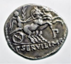 reverse: Repubblica Romana. Gens Servilia. Publius Servilius Rullus. 100 a.C. Denario. Ag. D/ RVLLI Busto di Pallade verso sinistra. R/ P SERVILI M F (Publii Servilii Marci filii) La vittoria su biga verso destra regge una palma, sotto la biga P (publice). Cr.328/1. Peso 4,00 gr. Diametro 20,63 mm. qSPL.