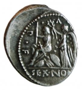 reverse: Repubblica Romana. Gens Nonia. M. Nonius Sufenas. 59 a.C. Denario. Ag. D\ Testa di Saturno verso destra dietro una Harpa e una pietra conica. R\ La Vittoria incorona Roma seduta su scudi SEX NONI PR(praetor) L (ludos) V (victoria) P (primus) F (fecit) giochi in onore della vittoria di Silla. Cr.421/1. Peso 3,75 gr. Diametro 19,00 mm. BB++. ex Monetae.