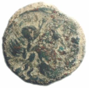 obverse: Repubblica Romana. Serie C. SAX. 169-158 a.C. Semisse. Ae. D/ Testa laureata di Saturno a destra; dietro S. R/ Prora a destra; sopra C:SAX. Crawford 173/2. Peso 13,40 gr. MB+. RR.