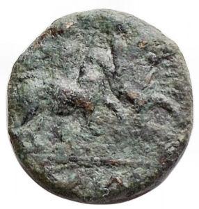 reverse: Mondo Greco - Apulia. Caelia. ca. 220-150 ac. Æ Semuncia .12,1 mm. 1,9 gr. d/ Testa di Atena a ds con elmo Corinzio r/ Dioscuri a cavallo a sn. HNItaly 770; SNG ANS 680. qBB. Patina verde