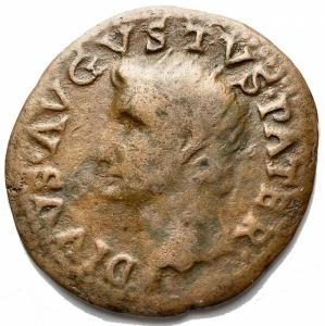 reverse: Impero Romano - Augustus. 27 a.C - 14 d.C. Dupondius, issued by Tiberius. AE. D / Head radiated to the left. R / PROVIDENT SC. Altar. RIC (Tib.) 81. Weight gr. 9.01. Diameter mm 29.6. aVF