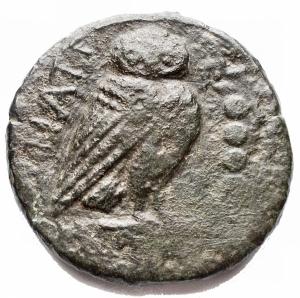 reverse: Mondo Greco - Apulia, Teate.Quincunx, ca. 225-200 a.C.D/ Testa di Athena a destra con elmo corinzio. Sopra, cinque globetti.R/ TIATI. Civetta stante a destra su capitello ionico. A destra, cinque globetti.HN(Italy) 702a. SNG ANS 746.AE.g 13,02.mm 25,7 x 26,7. MB - qBB.