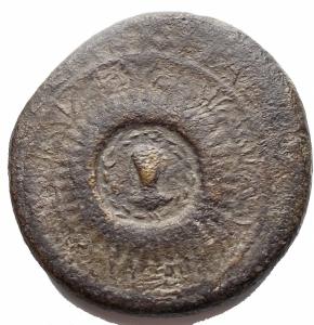 obverse: Impero Romano - Tiberio (14-37).Dupondio 16-22.D/ TI CAESAR DIVI AVG F AVGVST IMP VIII. Testa laureata a sinistra.R/ CLEMENTIAE S-C. Piccolo busto di fronte, laureato e drappeggiato, entro corona d alloro, su scudo rotondo, orlato da un cerchio di  petali  e palmette.RIC 38.AE.g 13,6.mm 28,6. MB+.Raro