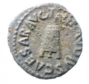 obverse: Impero Romano. Claudio. 41-54 d.C. Quadrante. Ae. D/ TI CLAVDIVS CAESAR AVG Nel centro un modio. R/ SC PON M TR P IMP PP COS DES. RIC.84.BB. w