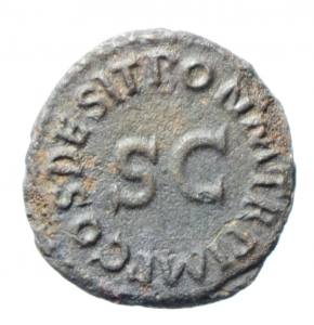 reverse: Impero Romano. Claudio. 41-54 d.C. Quadrante. Ae. D/ TI CLAVDIVS CAESAR AVG Nel centro un modio. R/ SC PON M TR P IMP PP COS DES. RIC.84.BB. w